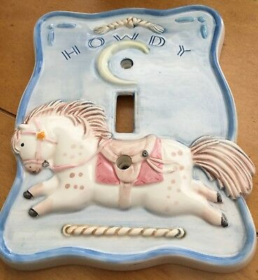 """Vintage Ceramic Light Switch Cover For Infants/child's Room - """"howdy"""""""