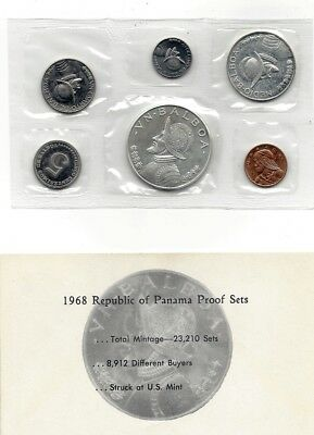1968 Panama Six Proof Coin Set Content Two Silver Coins in Original Envelope