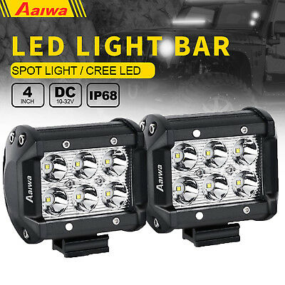 Pair 4inch 18W CREE Spot LED Work Light Bar Offroad 4WD ATV SUV Fog Driving Lamp