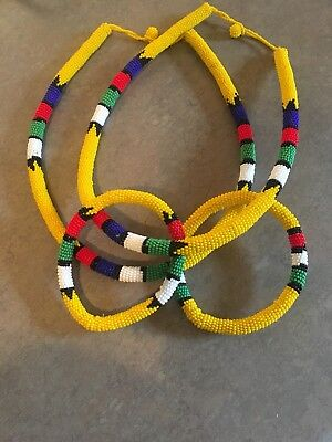 ZULU Traditional South African Beaded Necklace yellow necklace set.
