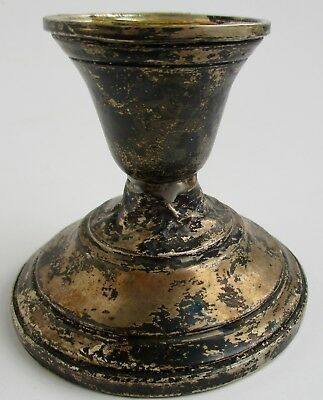AS IS Sterling Silver Weighted 012 Short Candlestick Holder  SELLING AS FOUND