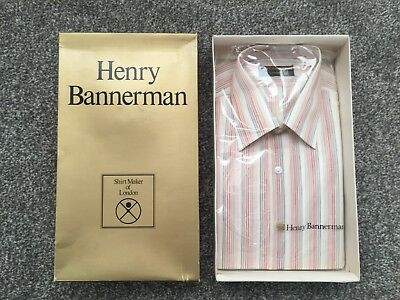 """Henry Bannerman of London Vintage Pink Striped Shirt - Size 16 / 44"""" Chest BNWT"""