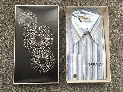 """Tootal Vintage Mens Pale Blue / White Striped Shirt Boxed - Size 16 / 44"""" Chest"""