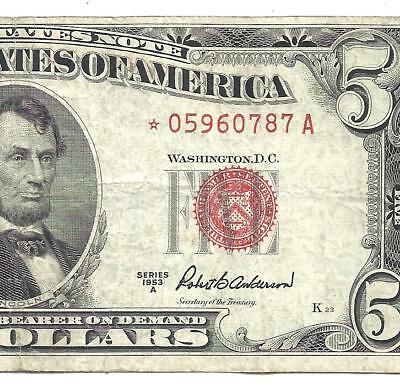 1953A $5 RED Seal *STAR* Legal Tender *UNITED STATES NOTE* Old US Paper Money!