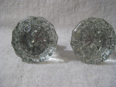 Pair Vintage Crystal Cut Glass Door Knobs 12 sided No Knicks Or Scratches