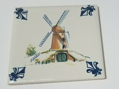 KLM Business Class ~ Delft Tile ~ Felt Backing Coaster Windmill Left