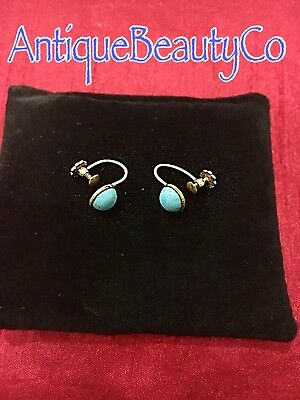 Antique Victorian 14ct Rolled Gold & Turquoise Earrings