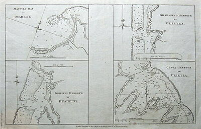 TAHITI, PACIFIC,MATAVIA BAY,HUAHINE,RAIATIA Captain Cook, Hogg antique map c1780