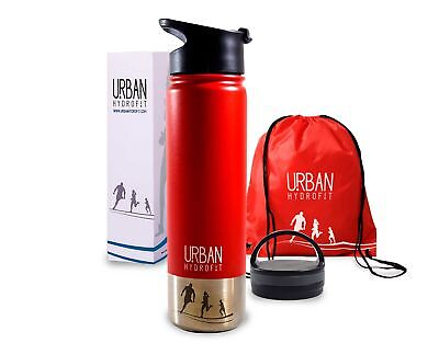 Sports Water Bottle Insulated Travel Mug 2 Lids and Sack Keeps Drink Cold or Hot