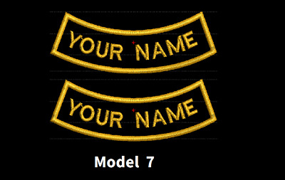 CURVE CUSTOM EMBROIDERED NAME TAG Iron on patch Quality Badge (Inverse) 2 PATCHE