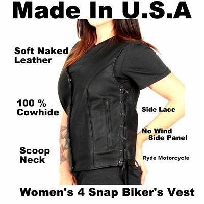 Made In USA Women Soft Naked Cowhide Classic 4 Snap - Side Lace Motorcycle Vest