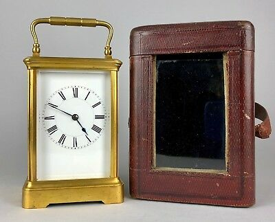 -HENRI JACOT, PARIS- C19th FRENCH BRASS/GLASS CASED TRAVEL CARRIAGE CLOCK 9229