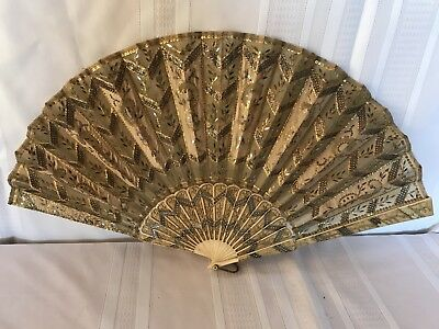 Antique Vintage Sequence And Bone Hand Fan