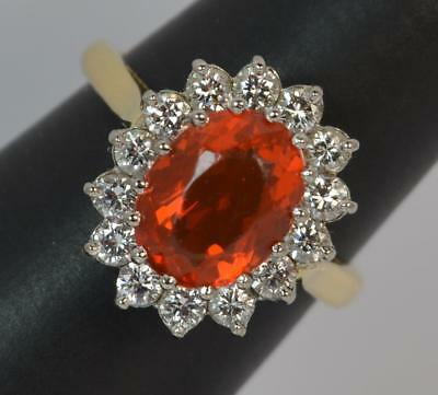 Stunning 0.50ct Diamond 2.00ct Fire Opal 18ct Gold Cluster Ring d0029