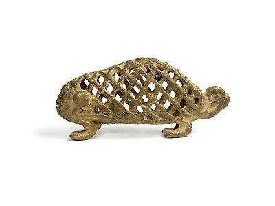 Rare Antique African Primitive Art Bronze Ashanti Gold Weight - CHAMELEON 3