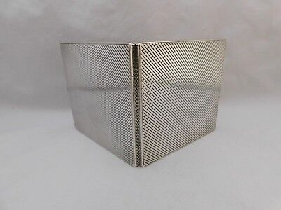 HEAVY SOLID SILVER ART DECO CIGARETTE CASE WITH CONCEALED HINGE-HM 1938-126g