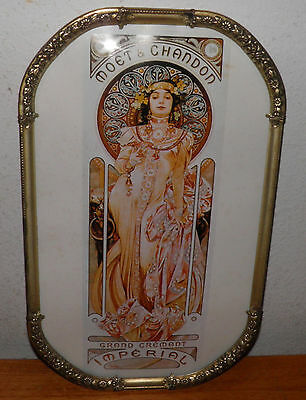 MUCHA Alfonse Moet et Chandon Imperial Convex Glass Frame 15.5x19.7  new lower $