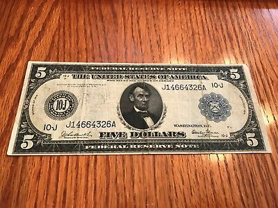 U.S. -  1914 $5 Federal Reserve Note - Federal Reserve Bank of Kansas City,Mo