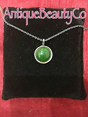 Antique Victorian Scottish Green Agate Stone  Pendant Set in 9ct Gold
