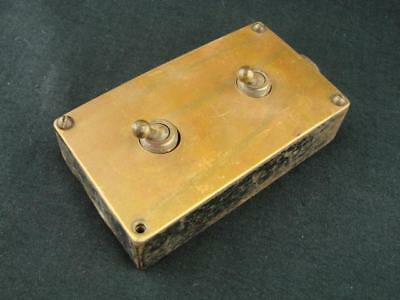 Superb Vintage Brass And Cast Steel Two Way Toggle Electric Light Switch