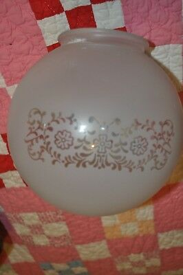 """Vintage Victorian Gas Light 7 inch round ETCHED Glass LAMP SHADE Globe 4"""" fitter"""