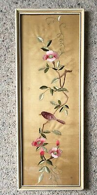 """Vintage Finely Embroidered Japanese Silk Panel """"Peach Blossom"""""""