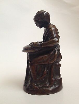 Bronze Brass lady figurine bell Figural Figurine Antique Vintage Old Spinner