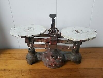 Antique 1800's CENCO Cast Iron Balance Scale Original CENCO Porcelain Plates