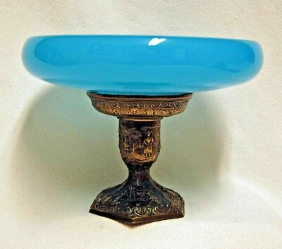 Antique French Blue Opaline Glass Compote Footed Bowl Dish