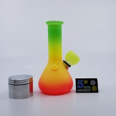 Mini Hookah 5 inch Glass Water Pipe Bong with Metal Grinder and  Pipe Screens