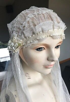 Antique 1920s Netting Tulle Flapper Bridal Veil Cap Ribbons Flowers Embroidery