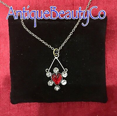 Antique Beautiful Victorian Pendant with Ruby Glass Heart & Marcasite Silver Set
