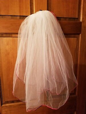 Davids Bridal Two Tier Elbow Length Veil trimmed in red