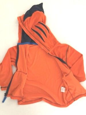 HANNA ANDERSSON 120 6-7 TERRY CLOTH HOODIE SWIM  orange navy blue fin on hood