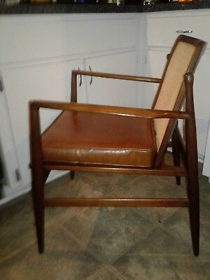 VINTAGE MCM 1960s Danish Ib Kofod Larsen Cane Back Lounge Chair for Selig