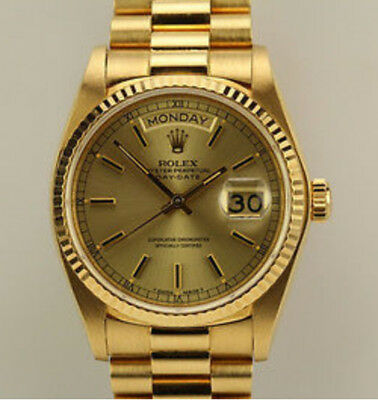 GENUINE Rolex Day Date President 18K Gold Automatic Single Quick Set Watch