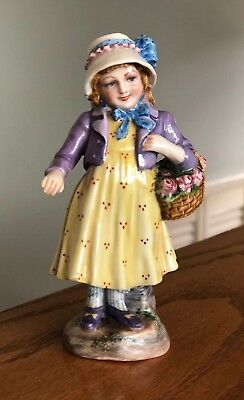 Vintage Capodimonte Figurine Girl with hat and flower basket
