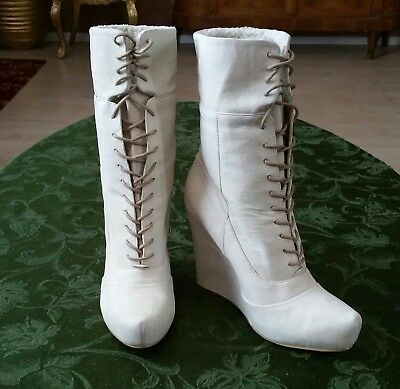 Rf Randy Genuine Leather Brand New So Amazing 2 Styles  Ivory Boots 7.5 Medium