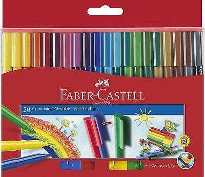Faber Castell 20 Connector Pens/Textas, Child Safe Washable, Fresh New Stock NEW