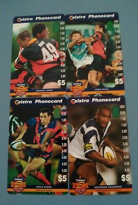 SUPERLEAGUE Mint $5 Phonecards Canterbury bulldogs &others.