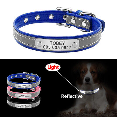 Reflective Leather Personalized Dog Collars Free Engraved Dog Name Collar XS S