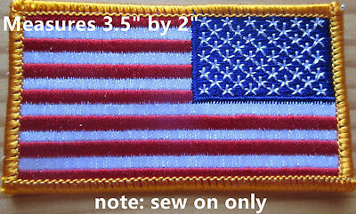 "REVERSE American Flag Embroidered Patch 3.5""x2"" US military issue sew on lots"