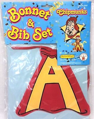 Rubies Costume Co Baby Bonnet & Bib Set Alvin And The Chipmunks Vintage 1991 NIP