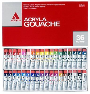 Holbein acryla Gouache Set 36 Colors D418 Opaque Acrylic Paints 20ml From Japan