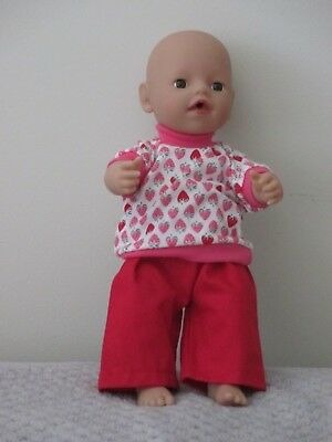 """Top & Pants suitable for   13""""Little Baby Born  doll """" Red Pants Top' SPECIAL"""