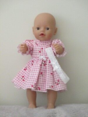 """PARTY DRESS & HEADBAND suitable  13""""Little Baby Born  doll """"Pink Cherry & Straw"""