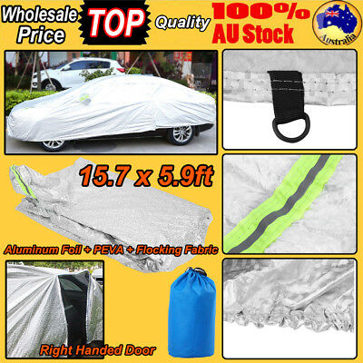 Large Aluminum Waterproof Outdoor Car Cover Double Thick Rain UV Dust Resistant