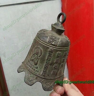 Worth collecting! Chinese Antique Old Style Buddhist bell Bronze statue