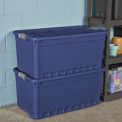 3pk Plastic Storage Containers Large Blue 50 Gallon Stacking Bin Box Tote W Lid