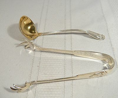 Antique Gorham STERLING Silver SPOTSWOOD  Claw  SUGAR TONGS & Small SAUCE LADLE
